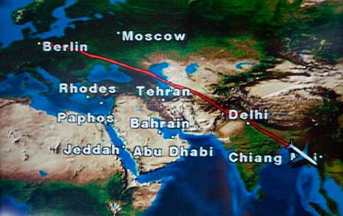 Flugstrecke Berlin => Bangkok