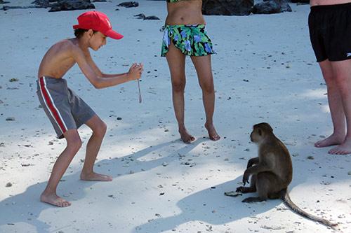 Ein Junge fotografiert einen Affen am Monkey Beach